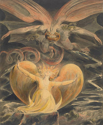 The Sun Painting - The Great Red Dragon And The Woman Clothed With The Sun by William Blake