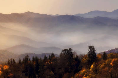 Park Scene Digital Art - The Great Smoky Mountains by Ellen Heaverlo