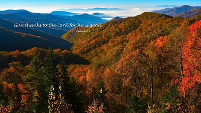 The Great Smoky Mountains Psalm 107 Verse 1 Art Print by Dennis Nelson
