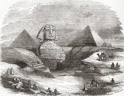 Monolith Drawing - The Great Sphinx Of Giza, Egypt by Vintage Design Pics