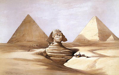 Painting - The Great Sphinx, Pyramids Of Gizeh by David Roberts
