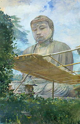 Painting - The Great Statue Of Amida Buddha At Kamakura Known As The Daibutsu From The Priest's Garden by John LaFarge