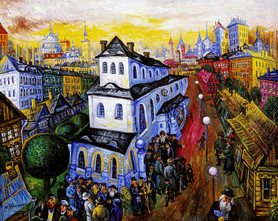 Roussimoff Wall Art - Painting - The Great Synagogue by Ari Roussimoff