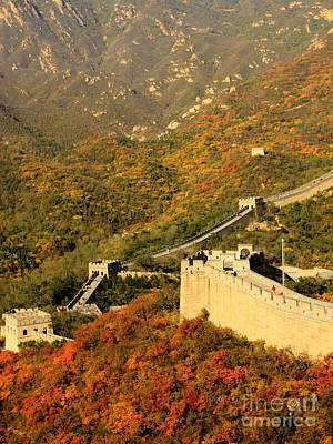 Photograph - The Great Wall With Fall Colors by Carol Groenen