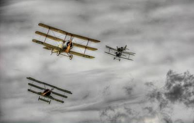 Bi Plane Digital Art - The Great War Display Team Dogfight by Nigel Bangert