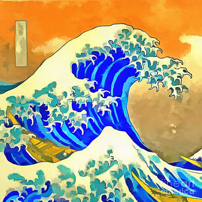 Great Wave Photograph - The Great Wave Off Kanagawa 2.0 Square by Edward Fielding