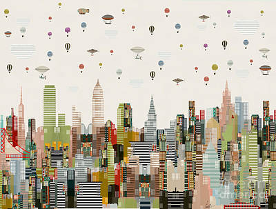 Art Print featuring the painting The Great Wondrous Balloon Race by Bri B