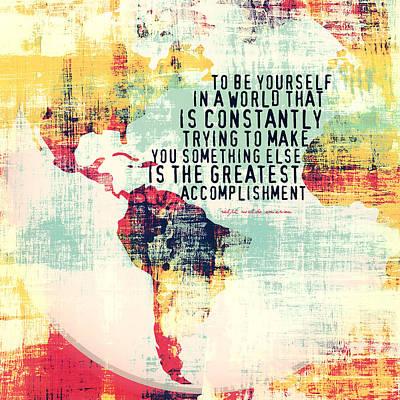 World Leaders Digital Art - The Greatest Accomplishment Emerson Quote V1 by Brandi Fitzgerald