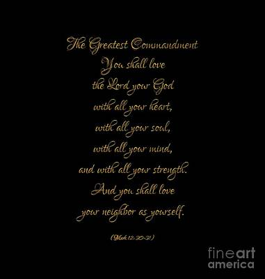 Digital Art - The Greatest Commandment Gold On Black by Rose Santuci-Sofranko