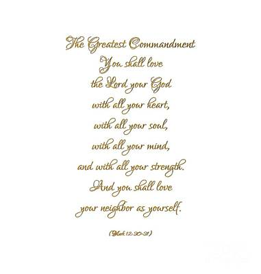 Digital Art - The Greatest Commandment Gold On White by Rose Santuci-Sofranko