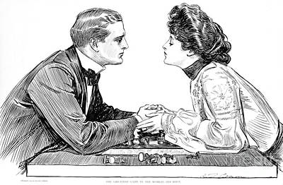 Drawing - The Greatest Game In The World  His Move by Charles Dana Gibson