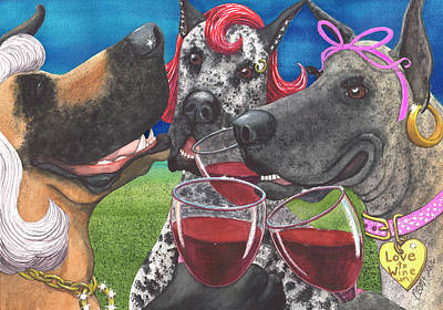 Canine Earrings Painting - The Greatest Wining Bitches by Catherine G McElroy