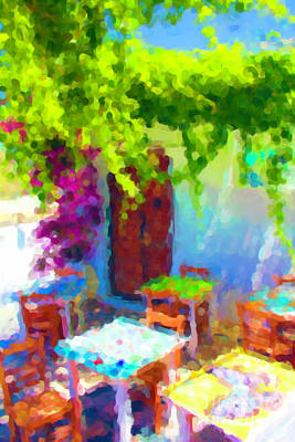 Photograph - The Greek Cafe by Donna L Munro