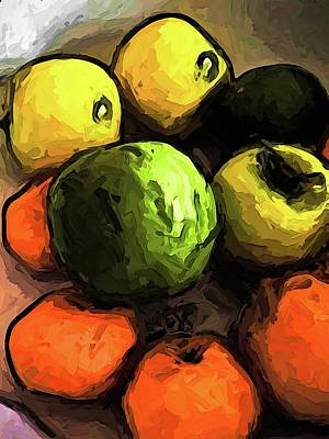 The Green And Gold Apples With The Orange Mandarins Art Print