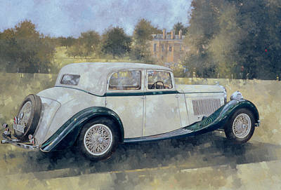 Ground Painting - The Green And White Bentley At Althorp by Peter Miller