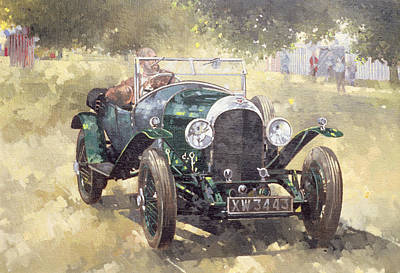 Transportation Painting - The Green Bentley At Althorp by Peter Miller