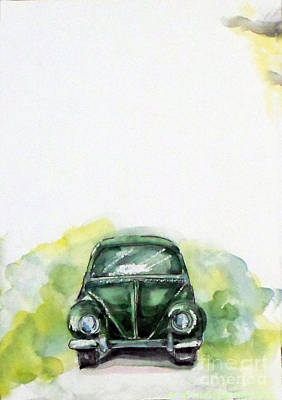 Painting - The Green Car by Asha Sudhaker Shenoy