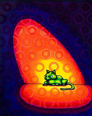 Drawing - The Green Cat by Laurie Tietjen