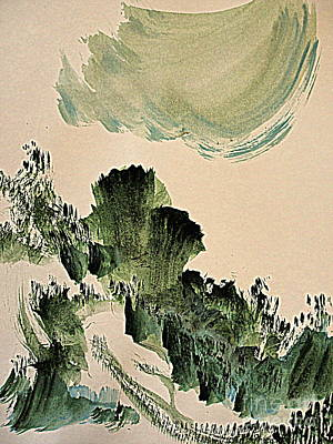 Painting - The Green Cliffs With A Cloud by Nancy Kane Chapman
