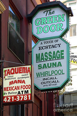 Photograph - The Green Door Massage At Stockton Street Tunnel San Francisco California 7d7486 by San Francisco Art and Photography