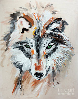 Animal Painting - The Green Eyes Wolf  by Valentina Miletic