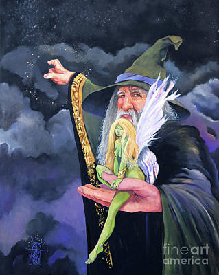 Painting - The Green Fairy by J W Baker