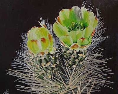 Spiny Painting - The Green Flowers Of The Teddy Bear Cholla by Amelia Emery
