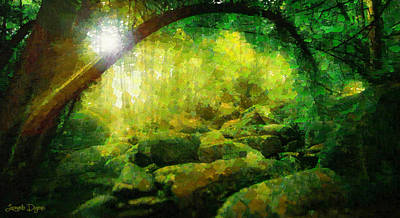 Sunny Day Digital Art - The Green Forest - Da by Leonardo Digenio