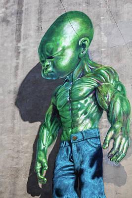 Photograph - The Green Guy Of Soho Nyc by Menachem Ganon