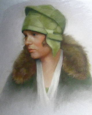 Pastel - The Green Hat by Janet McGrath
