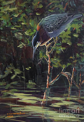 Painting - The Green Heron by Valentin Katrandzhiev