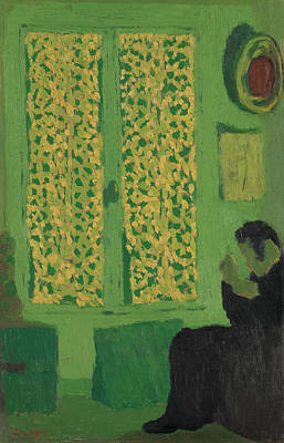 Post Impressionist Painting - The Green Interior, Figure Seated By A Curtained Window by Edouard Vuillard