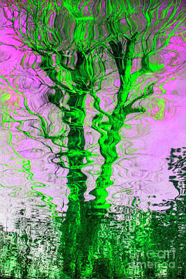 Mixed Media - The Green Ivy Tree Reflection by Daliana Pacuraru