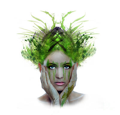 Kim Digital Art - The Green Lady by Kim Slater