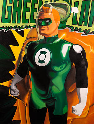 Super Heroes Painting - The Green Lantern by Karl Melton