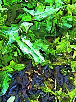 Digital Art - The Green Leaves And The Purple Blue Ground by Jackie VanO