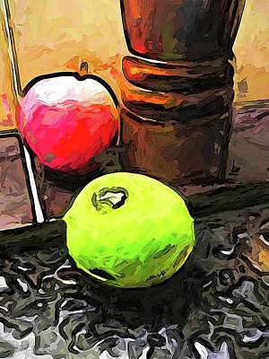 Digital Art - The Green Lime And The Apple With The Pepper Mill by Jackie VanO