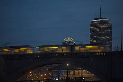 Photograph - The Green Line Rumbling Past The Pru Closeup by Toby McGuire