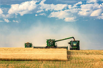 Wheat Field Sky Photograph - The Green Machines by Todd Klassy