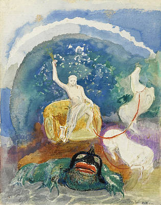Green Monster Drawing - The Green Monster by Odilon Redon