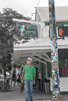Comics Royalty-Free and Rights-Managed Images - The Green Parrot Best Bar Key West by Betsy Knapp