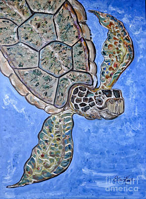 Painting - The Green Sea Turtle by Ella Kaye Dickey