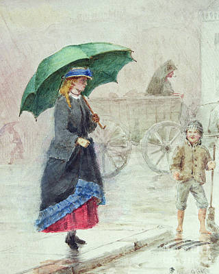 Rain Hat Painting - The Green Umbrella by George Goodwin Kilburne