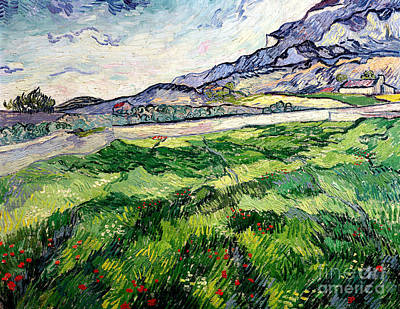 Flower Fields Painting - The Green Wheatfield Behind The Asylum by Vincent van Gogh