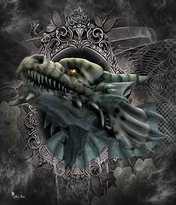 Digital Art - The Grey Dragon by Ali Oppy