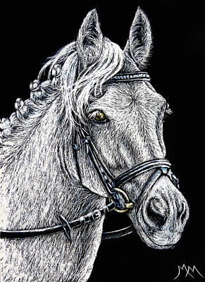 Drawing - The Grey Eventer - Sa112 by Monique Morin Matson