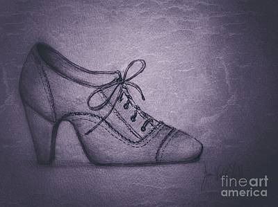 Drawing - The Grey Shoe by Joan-Violet Stretch
