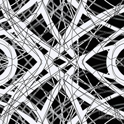 Graphic Drawing - The Grid Black And White Abstract Design by Edward Fielding