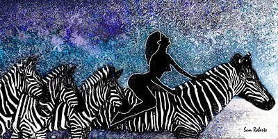 South Africa Zebra Painting - The Grind by Sam Roberts
