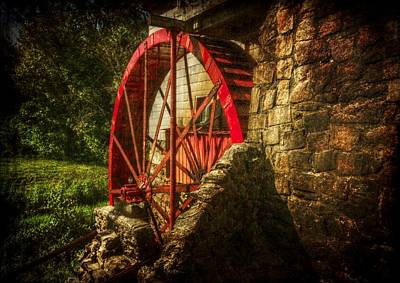 The Gristmill's Waterwheel Art Print by Christine Annas